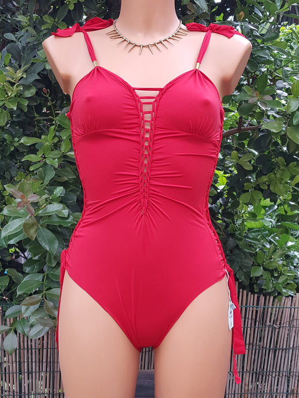 Clearance - Sheer Red Leotard For Women (Lycra Fabric)