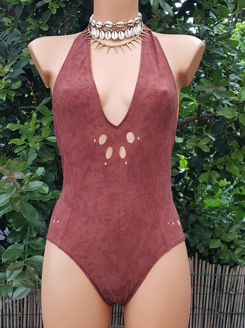Clearance - Brown Swimsuit For Women (Lycra Fabric)
