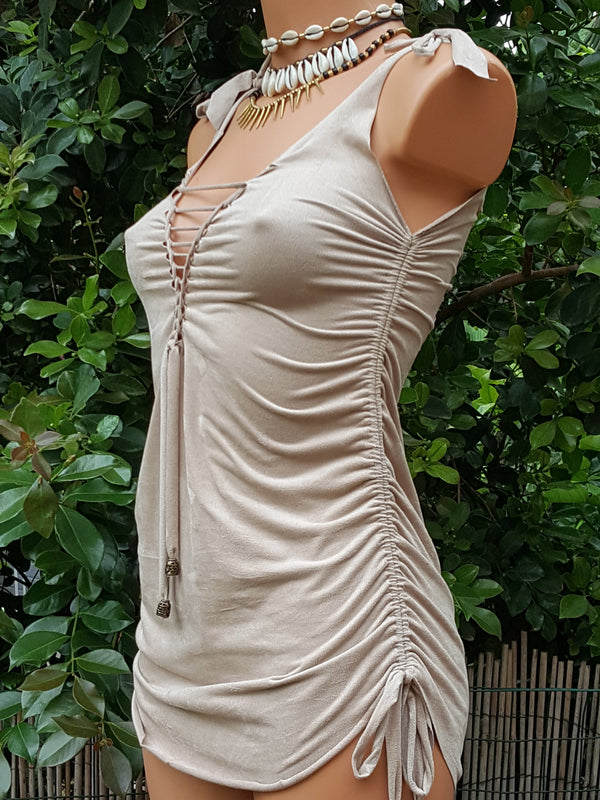 Clearance - Braided Top in Suede Light Beige