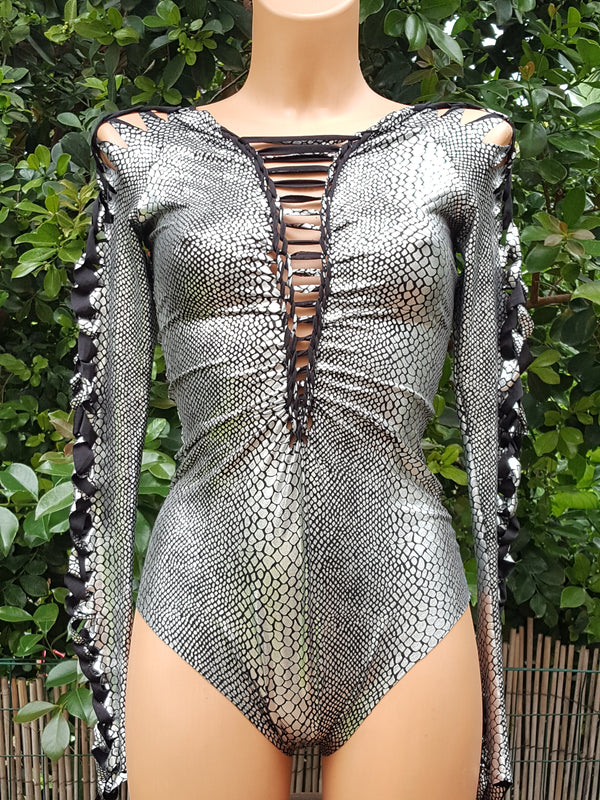Clearance - Silver Snake Print Leotard For Women (Lycra Fabric)