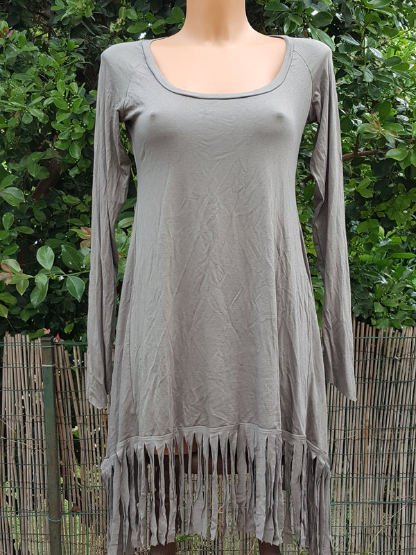 Clearance - Long Sleeve Fringe Dress In Gray, Pixie Midi Dress