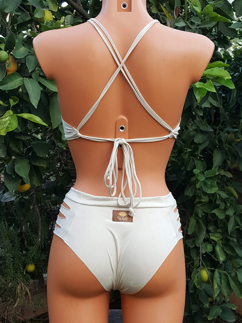 Clearance - Suede Look Off-White Bathing-Suit For Women