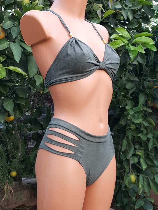 Clearance - Suede Look Olive Green Bathing-Suit For Women