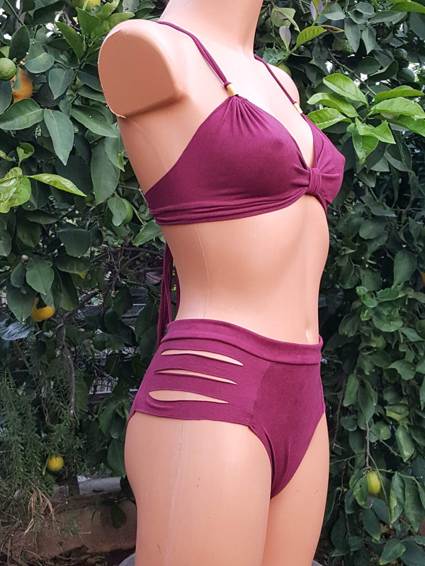 Clearance - Suede Look Boudreaux Bathing-Suit For Women