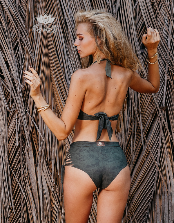 "Shabby Olive Green High Waisted Bikini Set For Women ""NELLY"" - goa-magic-fashion"