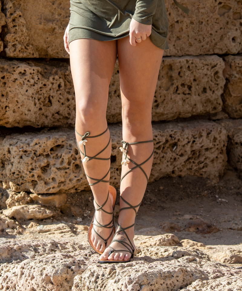 Olive Green Lace Up Sandals