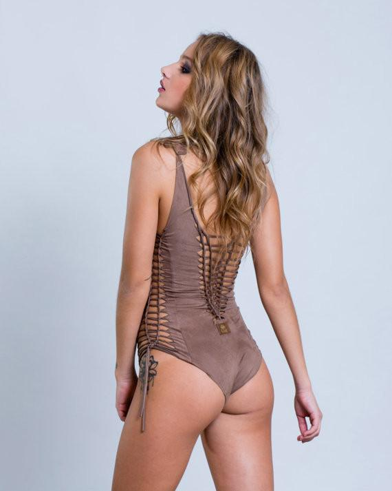 "Suede Look Light Brown One Piece Swimsuit For Women ""SIDE"" - One Piece - [By Goa Magic Fashion]"