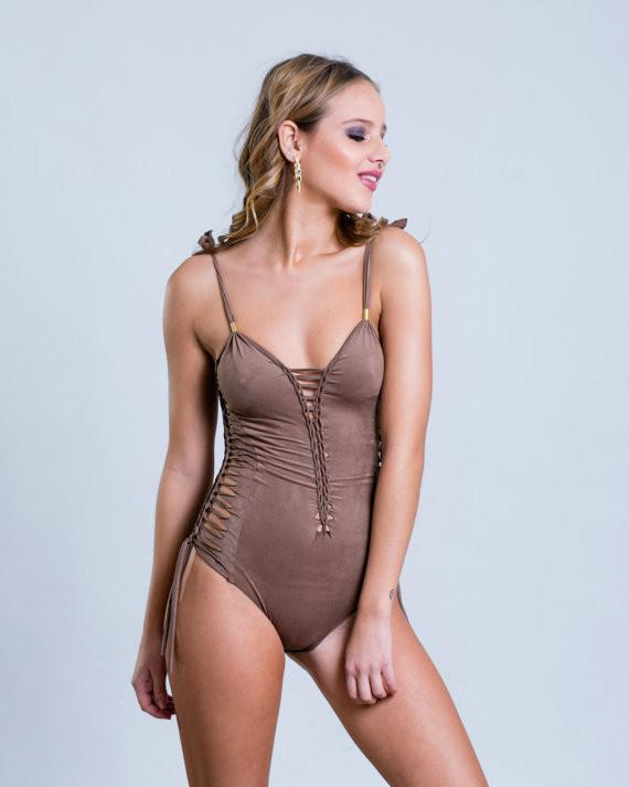 "Suede Look Light Brown One Piece Swimsuit For Women ""SIDE"" - goa-magic-fashion"