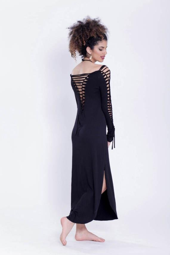 Long Sleeve Black Maxi Dress, Pixie Dress - Long Sleeve Dress - [By Goa Magic Fashion]