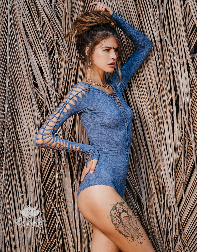 Long Sleeve Printed Blue Leotard For Women, Dance Bodysuit. - goa-magic-fashion