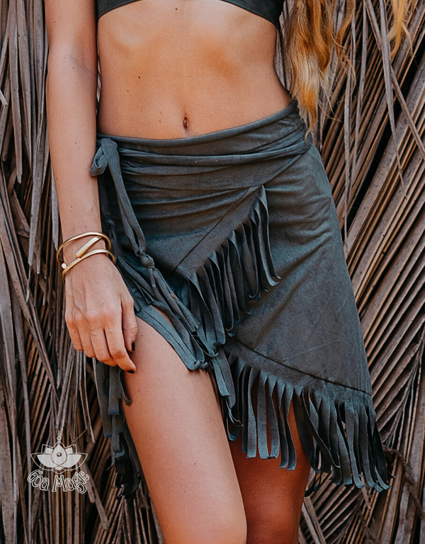 Suede Olive Green Wrap Swimwear Skirt Decorated with Fringe / Cover up