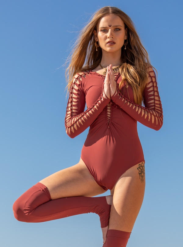 Long Sleeve Orange Coral Leotard For Women, Dance Bodysuit
