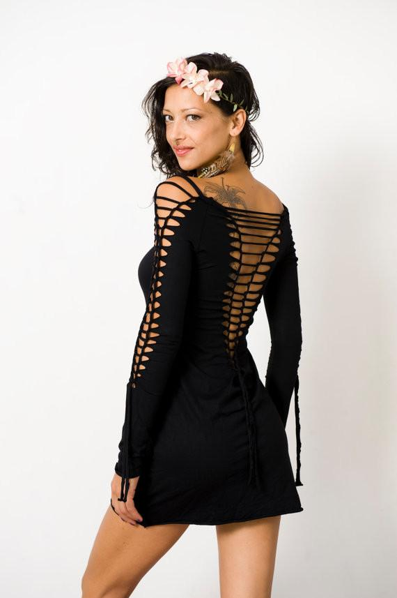 Long Sleeve Black Mini Dress, Pixie Dress - goa-magic-fashion