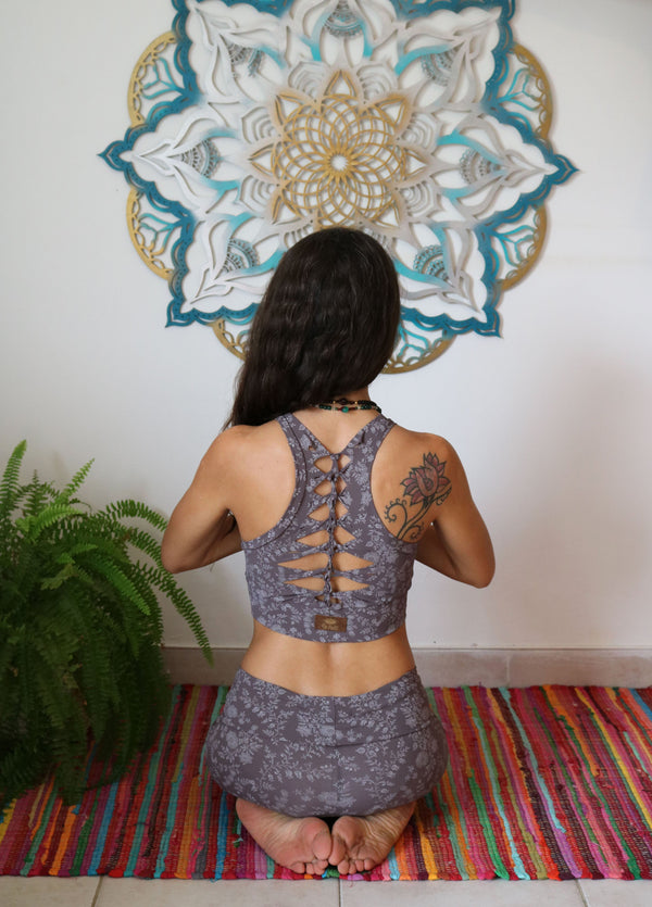 YOGA TANK TOP IN PRINTED GREY - yoga gear - [By Goa Magic Fashion]