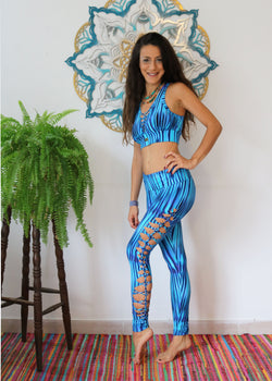 Yoga Legging For Women In Printed Turquoise - Yoga Pants - [By Goa Magic Fashion]