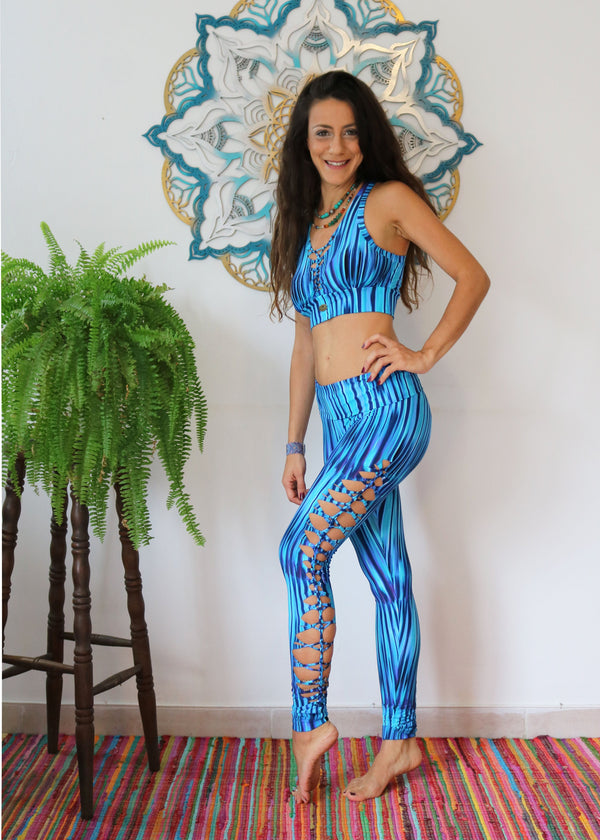Yoga Legging For Women In Printed Turquoise - goa-magic-fashion