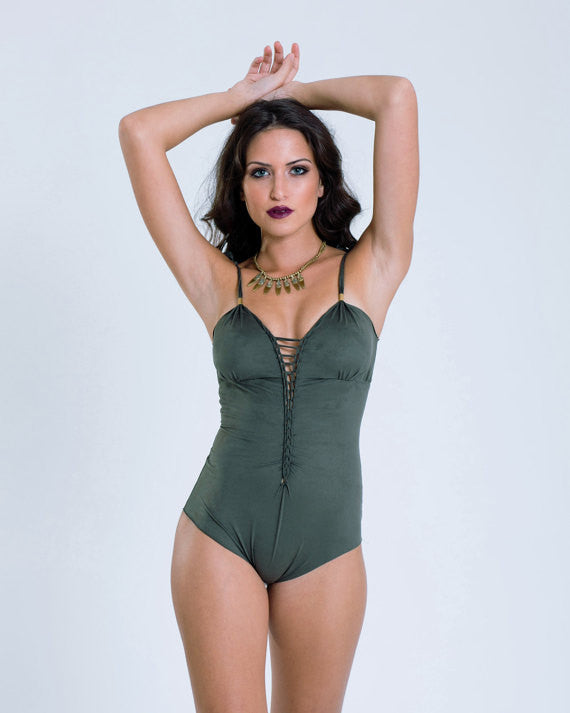 "Suede Look Olive Green One Piece Swimsuit For Women ""CUT"" - goa-magic-fashion"