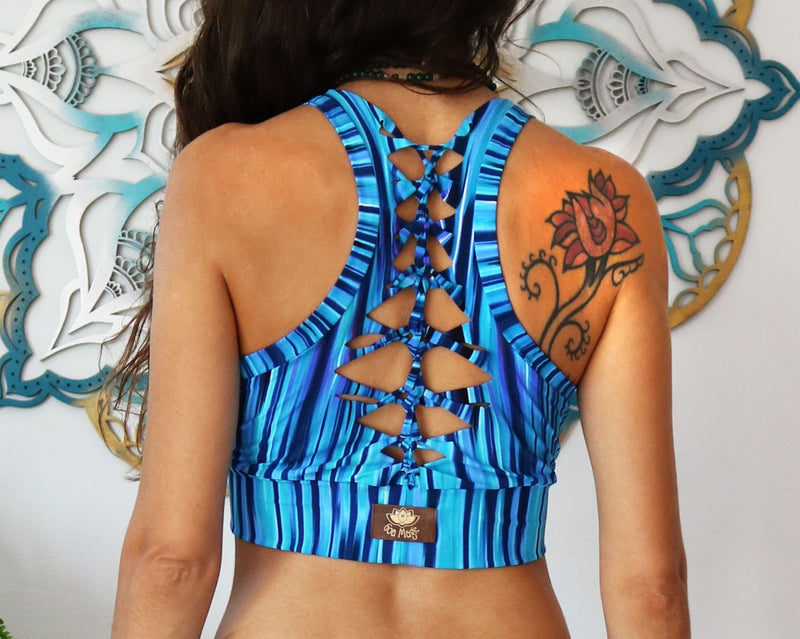 YOGA TANK TOP IN PRINTED TURQUOISE - goa-magic-fashion