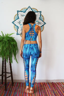 YOGA TANK TOP IN PRINTED TURQUOISE - yoga gear - [By Goa Magic Fashion]