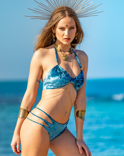 Blue VELVET Bikini Set For Women