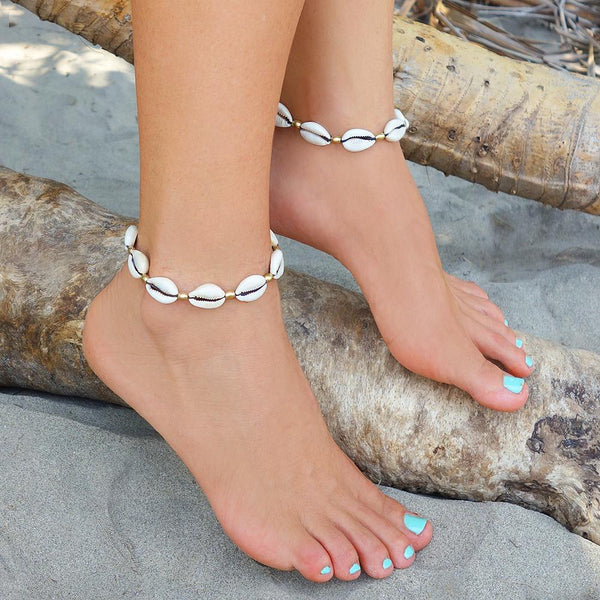 Cowrie Shell Anklet Bracelet, Body Jewelry BY Artjuna Jewelry - goa-magic-fashion