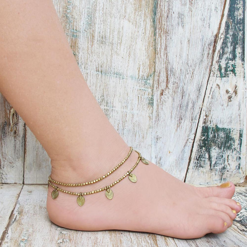 Gypsy Brass Bead Anklet Bracelet, Body Jewelry BY Artjuna Jewelry - goa-magic-fashion
