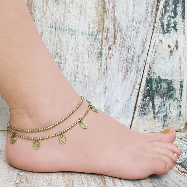 Gypsy Brass Bead Anklet Bracelet, Body Jewelry BY Artjuna Jewelry - Anklet Bracelet - [By Goa Magic Fashion]