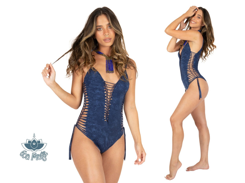 "Shabby Blue One Piece Swimsuit For Women ""SIDE"" (Lycra Fabric) - One Piece - [By Goa Magic Fashion]"