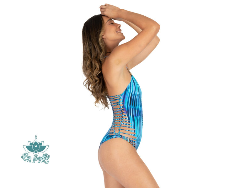 "Printed Turquoise One Piece Swimsuit For Women ""DORIN"" (Lycra Fabric) - One Piece - [By Goa Magic Fashion]"