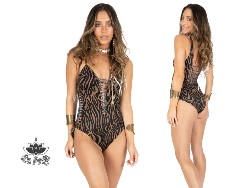"Brown & Black Print One Piece Swimsuit For Women ""SIDE"" (Lycra Fabric) - One Piece - [By Goa Magic Fashion]"