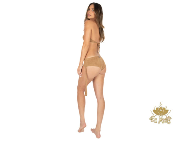 "Suede Beige Cheeky Booty Bikini Set For Women ""ANGIE"" - goa-magic-fashion"