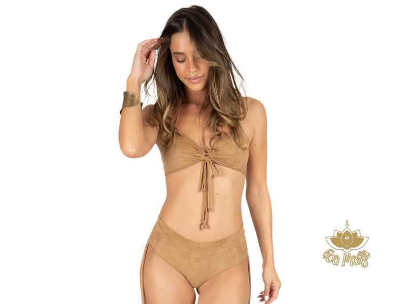 "Suede Beige Cheeky Booty Bikini Set For Women ""ANGIE"" - Bikini - [By Goa Magic Fashion]"