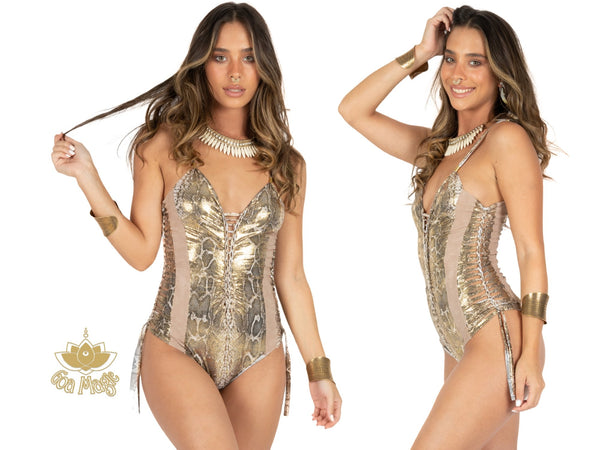 "Golden Print One Piece Swimsuit For Women ""HILA"" - One Piece - [By Goa Magic Fashion]"