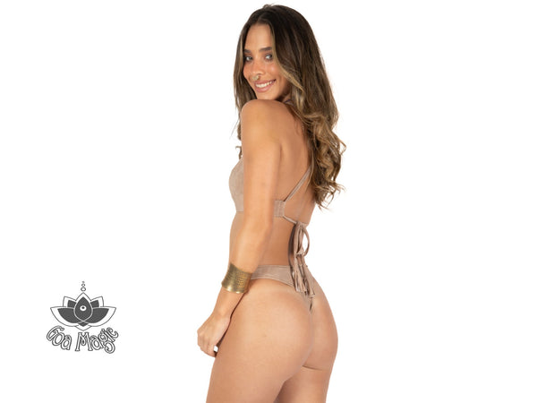 "Thong Bikini Set For Women ""GAL"" In Suede Nude (Light Beige) Color - goa-magic-fashion"
