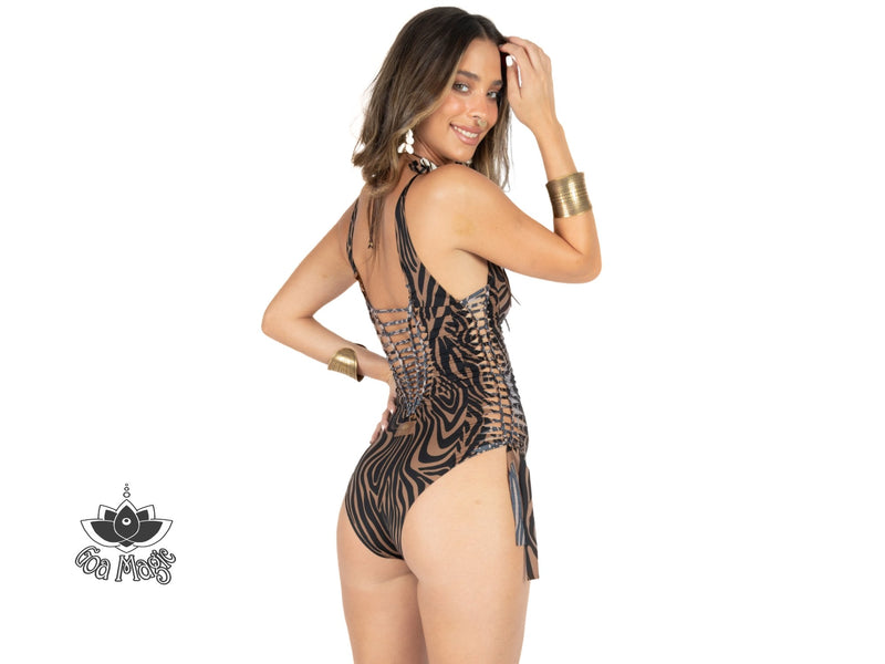 "Brown & Black Print One Piece Swimsuit For Women ""SIDE"" (Lycra Fabric) - goa-magic-fashion"