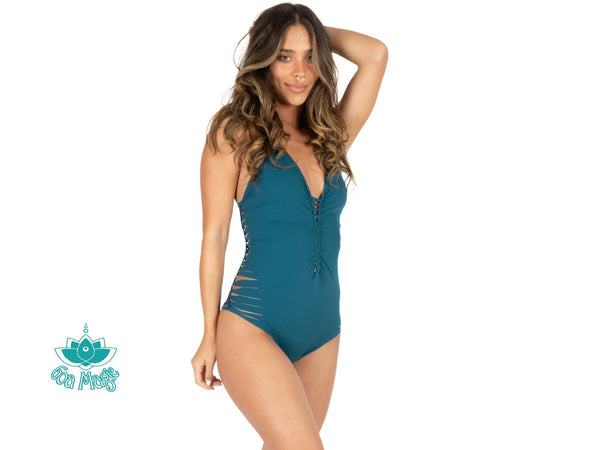 "Teal One Piece Swimsuit For Women ""DORIN"" - One Piece - [By Goa Magic Fashion]"
