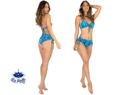"Printed Turquoise Cheeky Booty Bikini Set For Women ""ANGIE"" - Bikini - [By Goa Magic Fashion]"