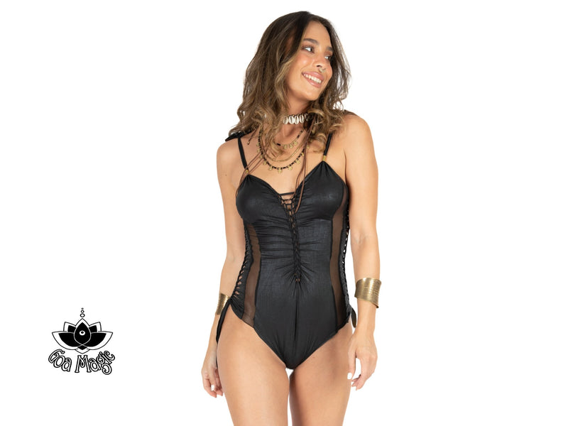 "One Piece Swimsuit For Women In Black Fake Leather Fabric ""HILA"" (Lycra Fabric) - One Piece - [By Goa Magic Fashion]"