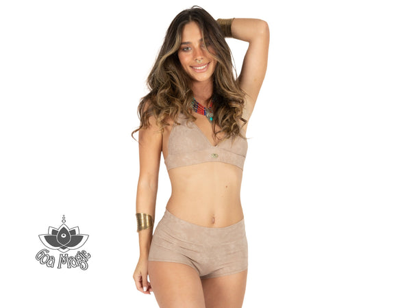 "Cheeky High Waist Bikini For Women ""GAL"" In Suede Nude (Light Beige) Color - goa-magic-fashion"