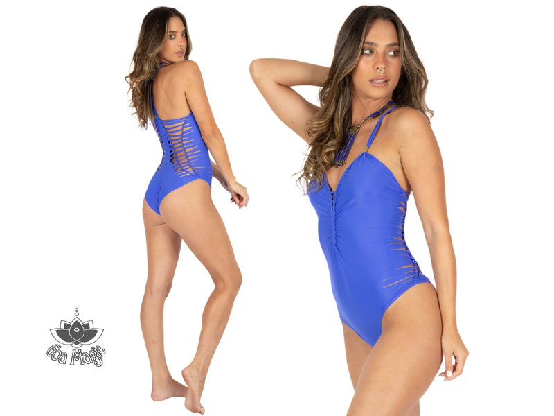 "Royal Blue One Piece Swimsuit For Women ""DORIN"" (Lycra Fabric) - goa-magic-fashion"