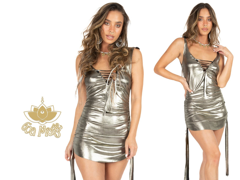 Golden Mini Dress, Rave Dress - goa-magic-fashion