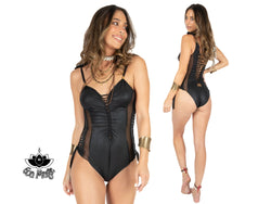 "One Piece Swimsuit For Women In Black Fake Leather Fabric ""HILA"" (Lycra Fabric) - goa-magic-fashion"