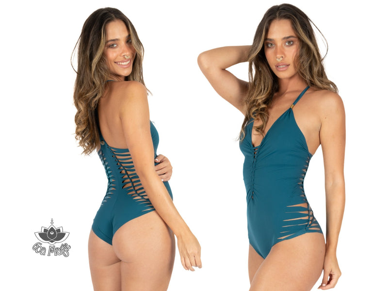 "Teal One Piece Swimsuit For Women ""DORIN"" (Lycra Fabric) - One Piece - [By Goa Magic Fashion]"