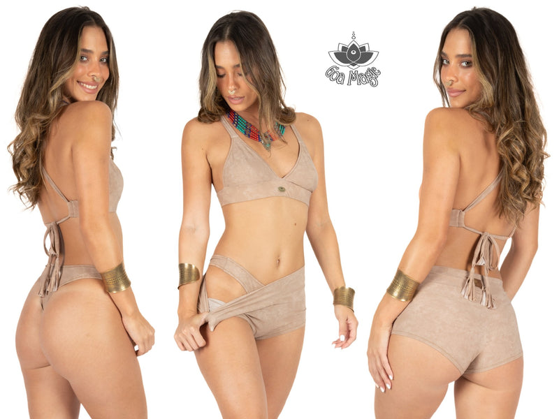 "Suede Look 3 Pieces Bikini set For Women ""GAL"" in light beige - Bikini - [By Goa Magic Fashion]"