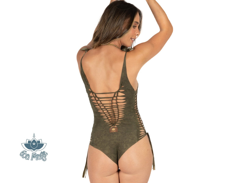 "Shabby Green One Piece Swimsuit For Women ""SIDE"" (Lycra Fabric) - One Piece - [By Goa Magic Fashion]"