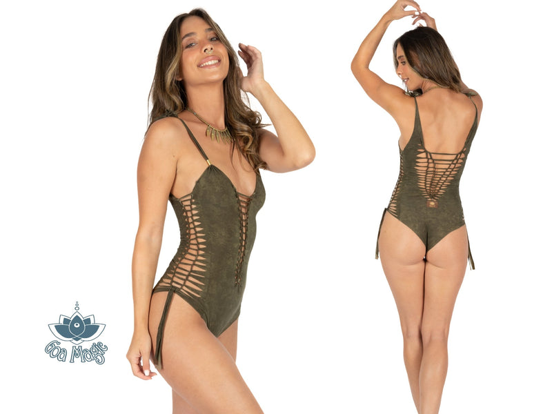 "Shabby Green One Piece Swimsuit For Women ""SIDE"" (Lycra Fabric) - goa-magic-fashion"