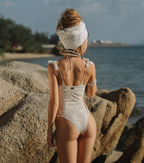 "Printed Off White One Piece Swimsuit For Women ""MIA"" (Lycra Fabric)"