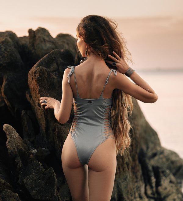 "Light Silver One Piece Swimsuit For Women ""MIA"" (Lycra Fabric)"