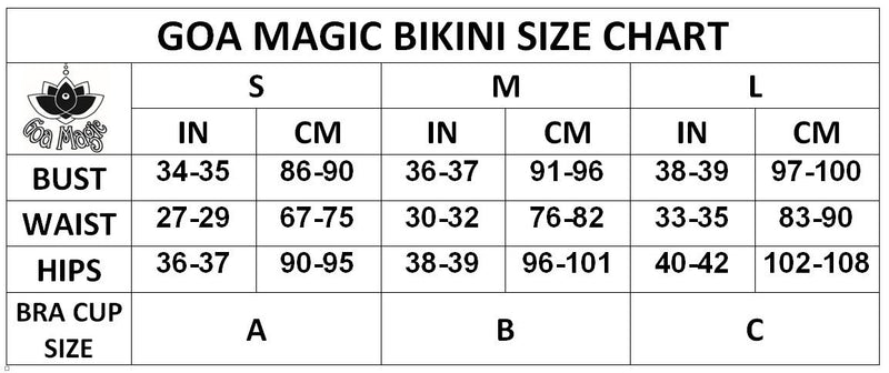"3 Pieces Bikini set For Women ""GAL"" in Printed Black On Nude - Bikini - [By Goa Magic Fashion]"
