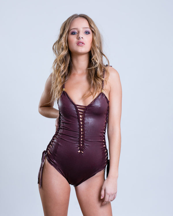"Bordeaux Fake Leather One Piece Swimsuit For Women ""SIDE"" (Lycra Fabric) - One Piece - [By Goa Magic Fashion]"